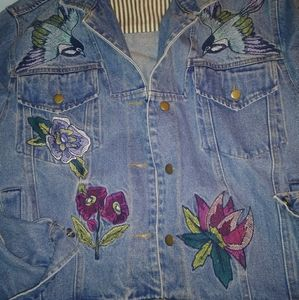 Honey Punch Embroidered Jean Jacket